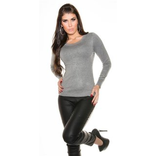 NOBLE FINE-KNITTED LADIES SWEATER WITH FINE LACE LIGHT GREY