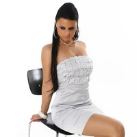 PRECIOUS SATIN EVENING DRESS SILVER