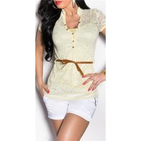 Elegant short-sleeved 2in1 lace shirt incl. belt yellow...