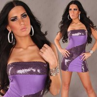 SEXY BANDEAU MINIDRESS WITH SEQUINS PURPLE
