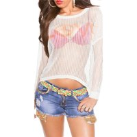 Sexy Oversize Grobstrick-Pullover LOVE transparent Weiß...