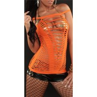 Sexy fishnet strappy top gogo clubwear orange Onesize (UK...
