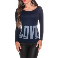 ELEGANT FINE-KNITTED SWEATER WITH RHINESTONES LOVE NAVY