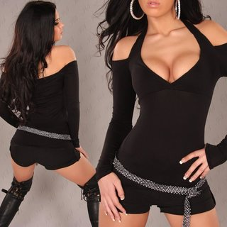 Sexy long-sleeved halterneck shirt black