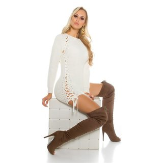 8672f837726b NOBLE COARSE-KNITTED LADIES SWEATER JUMPER WITH LACING CREME-WHITE ...