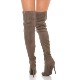 SEXY LACE UP OVERKNEE BOOTS IN SUEDE LOOK GREY