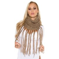 Trendy knitted tube scarf with glitter and fringes...