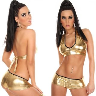 Sexy hot pants with rhinestones wet look gogo clubwear gold