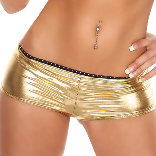 Sexy Hotpants mit Strass Wetlook Gogo Clubwear Gold