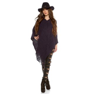 ELEGANT KNITTED OVERSIZED PONCHO WITH FRINGES CAPE WRAP NAVY