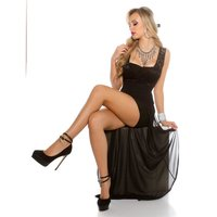 NOBLE EVENING DRESS WITH LACE AND CHIFFON VEIL BLACK UK...