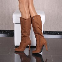 SEXY LADIES HIGH HEEL BOOTS IN SUEDE LOOK SHOES CAMEL