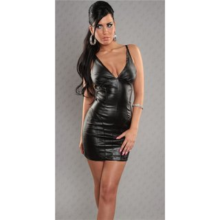 Sexy strap mini dress faux leather wet look black UK 10 (S)