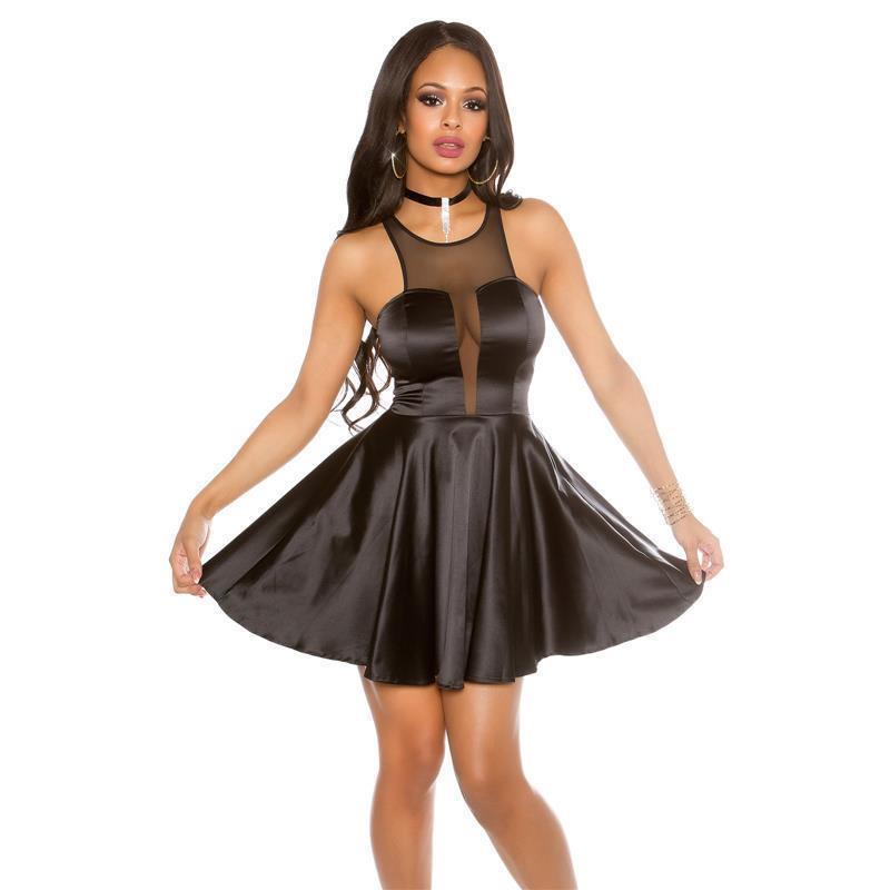 cea691e1e9d SEXY SHORT SATIN EVENING DRESS WITH TRANSPARENT DECOLLETÉ