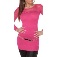 NOBLE FINE-KNITTED LADIES LONG SWEATER WITH LACE FUCHSIA...