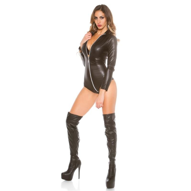 SEXY LONG-SLEEVED WET LOOK BODY WITH ZIPPER, 34,95