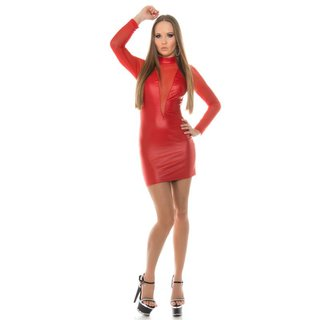SEXY CLUB MINIDRESS WITH MESH WET LOOK GOGO RED