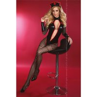 SEXY 4 PCS SET NURSE CUSTOME IN WETLOOK CLUBWEAR BLACK / RED