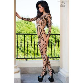 SEXY CROTCHLESS BODYSTOCKING CATSUIT LINGERIE NUDE/BLACK Onesize (UK 8,10,12)
