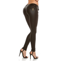 SEXY HAUTENGE DAMEN-HOSE IN LEDER-LOOK WETLOOK SCHWARZ