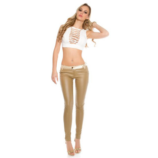 Sexy hautenge Damen-Hose in Leder-Look Wetlook Beige