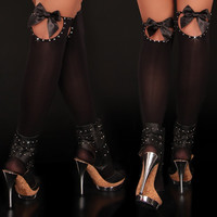 SEXY NYLON STOCKINGS WITH RHINESTONES AND SATIN BOWS BLACK