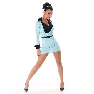 Elegant mini dress in double look with belt turquoise / black