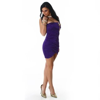 SEXY BANDEAU MINIDRESS WITH BROOCH PURPLE