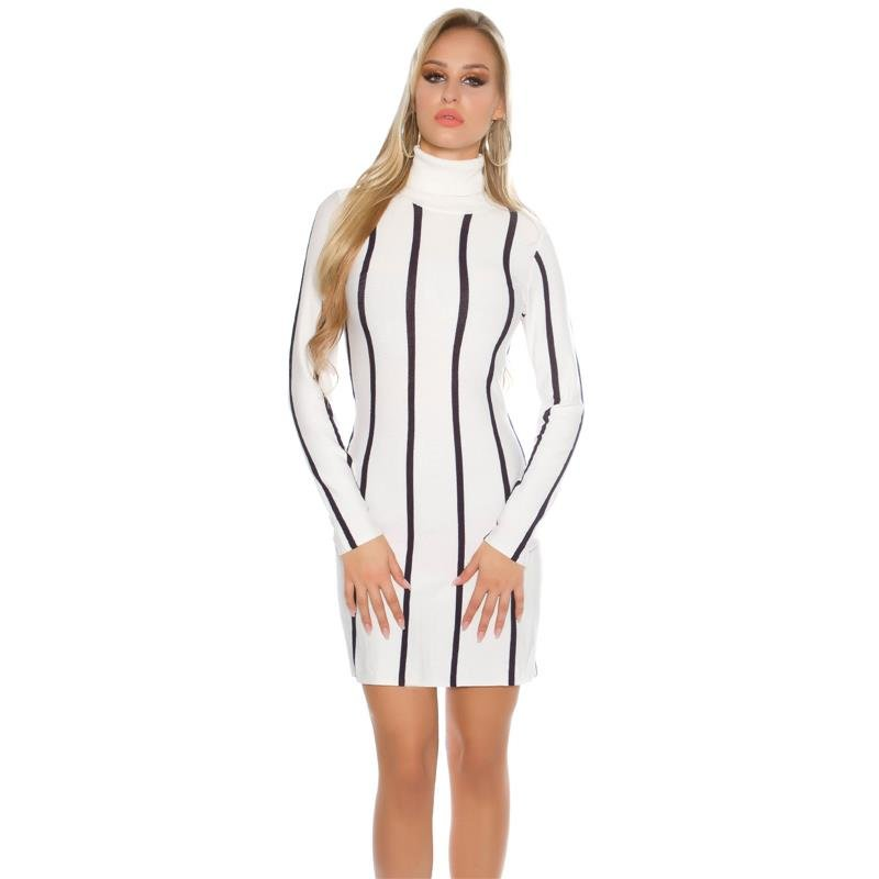 Diva Zappa Knitted Dress : Elegant knitted a line dress with striped pattern