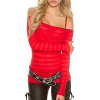 RACY CARMEN LONG-SLEEVED SHIRT WITH TRANSPARENT STRIPES RED
