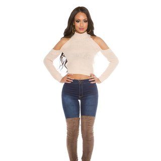 SEXY BAUCHFREIER DAMEN COLD-SHOULDER STRICKPULLOVER BEIGE