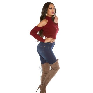 SEXY BAUCHFREIER DAMEN COLD-SHOULDER STRICKPULLOVER BORDEAUX