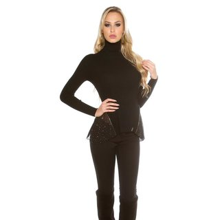 Rib-knitted polo-neck sweater with chiffon black