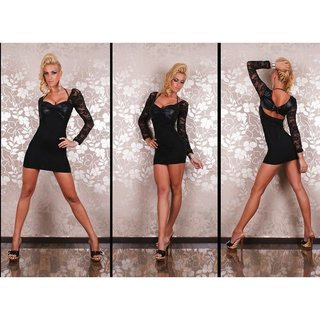Sexy mini dress with lace wet look lacing black