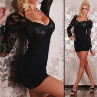 SEXY MINIDRESS WITH LACE WET LOOK LACING BLACK