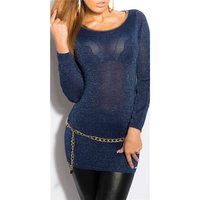 ELEGANT LONG SWEATER WITH GLITTER THREADS AND CUT-OUT NAVY