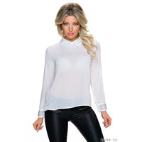 ELEGANT GLAMOUR CHIFFON BLOUSE WITH METAL PLATES WHITE