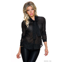 GLAMOUR CHIFFON TIE-NECK BLOUSE WITH GLITTER THREADS BLACK
