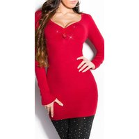 ELEGANT FINE-KNITTED LADIES LONG SWEATER WITH RHINESTONES...