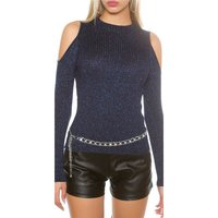NOBLE RIB-KNITTED COLD SHOULDER SWEATER WITH GLITTER NAVY
