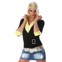 PRECIOUS TWO-IN-ONE SWEATER BLACK/YELLOW