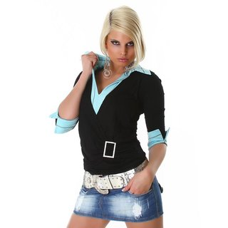 Precious two-in-one sweater black/turquoise