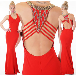 Edles bodenlanges Gala Glamour Abendkleid mit Strass Rot