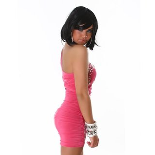 SEXY ONE-SHOULDER MINIKLEID MIT GLAS-STEINCHEN PINK