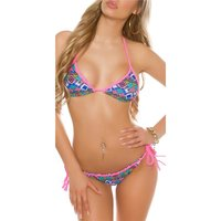 SEXY TRIANGLE BIKINI TO TIE WITH AZTEC PATTERN NEON-FUCHSIA