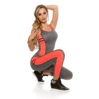 Sexy 2 pcs sport set fitness yoga jogging grey/neon-coral...