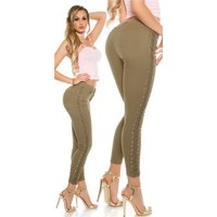 SEXY SKINNY LADIES DRAINPIPE JEANS WITH LATERAL LACING KHAKI