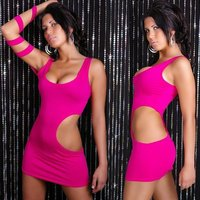 Sexy mini dress gogo clubwear fuchsia