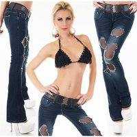 SEXY DESTROYED BOOTCUT JEANS USED-LOOK INKL. GÜRTEL...