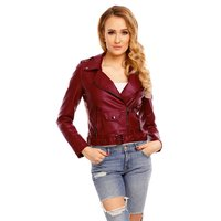 NOBLE LADIES IMITATION LEATHER JACKET WITH ZIPPER WINE-RED